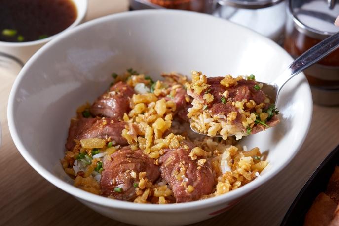 Premium crunchy beef over rice